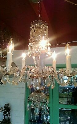 50s Hollywood Regency 5 Arm Crystal and Glass Chandelier Luxuryl light Fixture