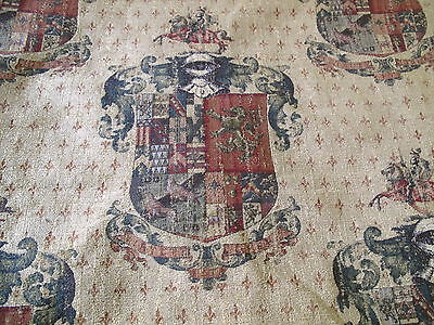 2 Yards Of Handsome Heraldic Family Crest Chenille Tapestry Upholstery Fabric
