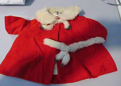 Vintage 1960s Mattel Chatty Cathy Red Velvet Coat With Faux Fur & Fur Headpiece