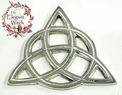 """Celtic Triquetra Altar Tile Ornament Talisman 3"""" Silver Plated Wicca Pagan Witch"""