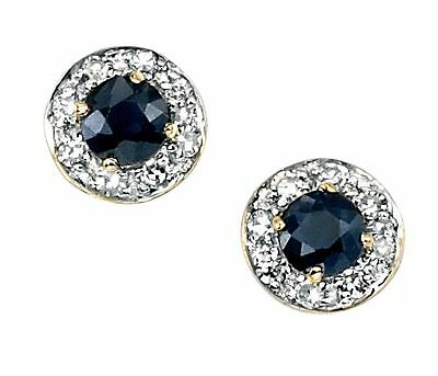 9ct Yellow Gold stud earring with round sapphire and pave diamonds
