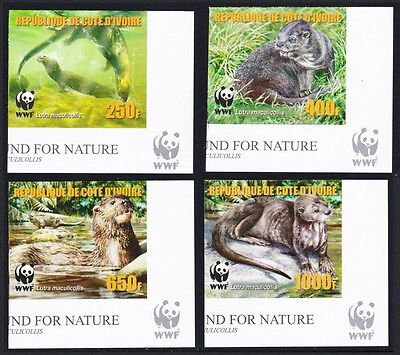 Ivory Coast WWF Speckle-throated Otter 4v Reprint Bottom Right Corners