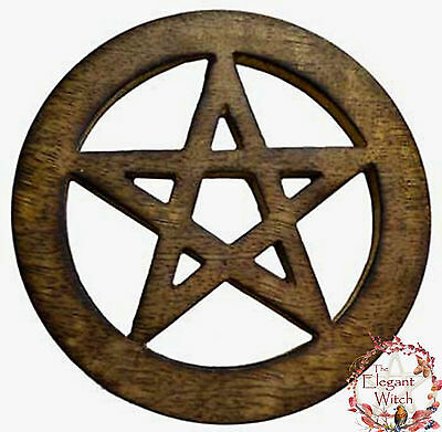 """Open Pentacle Altar Tile Ornament Talisman 4"""" Wooden Wiccan Pagan Witch"""