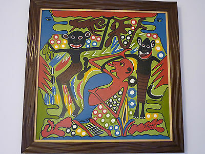 GEORGE LILANGA  61x61 cm. AFRICAN CONTEMPORARY ART.
