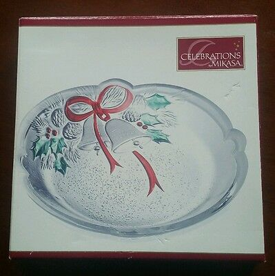 "Celebrations by Mikasa ""Holiday Bells"" Glass Crystal Sweet Dish MY558/715"