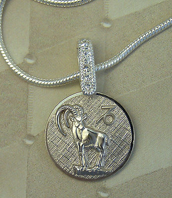 CAPRICORN Goat Pendant Necklace- Sterling Silver-Astrology Sign- Anson Jewelry