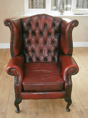 Vintage Chesterfield Armchair Queen Anne High Back Fireside Wing OxBlood Leather