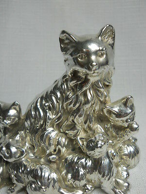 SPECTACULAR Vintage Sterling Silver CAT with KITTENS Figure Sculpture 100 Grams