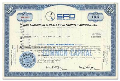 San Francisco & Oakland Helicopter Airlines, Inc. Stock Certificate