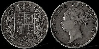 narkypoon's MIDDLING HIGH GRADE 1881 Victoria YOUNG HEAD 925 Silver Half-Crown