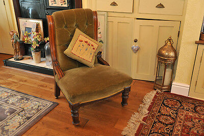 Small AntiqueRolled Back Upholstered Nursing/Ladies Fireside Chair Vic/Edwn