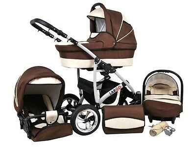 Kinderwagen Largo, 3 in 1- Set Wanne Buggy Babyschale Autositz Braun + Ecri