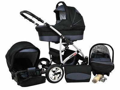 Kinderwagen Largo, 3 in 1- Set Wanne Buggy Babyschale Autositz Schwarz + Graphit