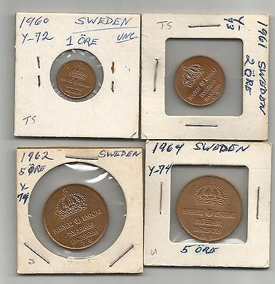 Sweden. 1, 2, & 5 ore. from 1960-64. UNC LOT.!!