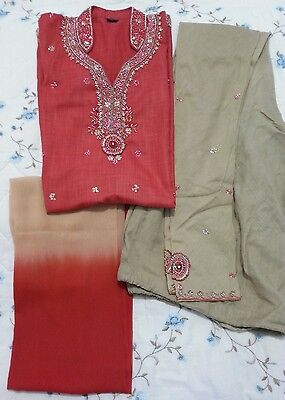 Asian Cotton Coral Red & Biscuit Beige Pajama/ Legging Suit