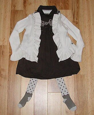 Jean Bourget French Designer Girls Outfit Set Age 5 Dress Tights Cardigan Superb