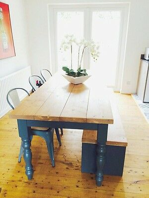 Farmhouse Table Pine Handmade Farrow And Ball Rustic Industrial Scandi Nordic
