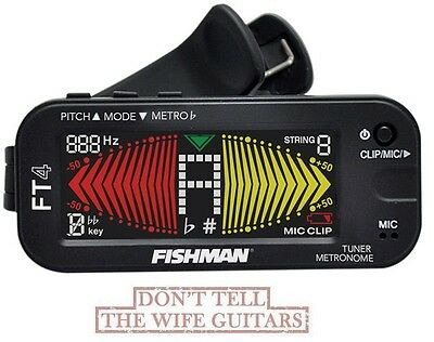 FISHMAN FT-4 Clip On Guitar Tuner & Metronome Large LCD Display ACC-TUN-FT4