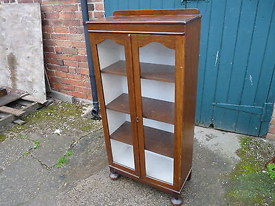 Victorian Antique Oak Glazed Display Cabinet Or Bookcase With Bun Feet and Key
