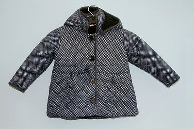 Lily & Jack Blue & White Spotty Quilted Fleece Lined Coat + Hood Age 2 - 3 years