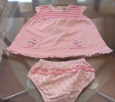 Baby Girls Pink Jasper Conran Dress And Frilly Knickers ~ Age 6-9 Months