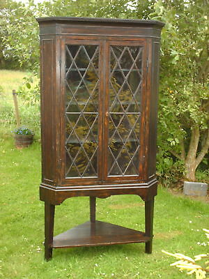 Antique Corner  Astragal  Glazed  Cabinet On Stand