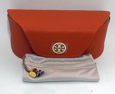 AUTHENTIC TORY BURCH Orange Sunglasses Case w/ Gold Logo LARGE Leather RH 23/53