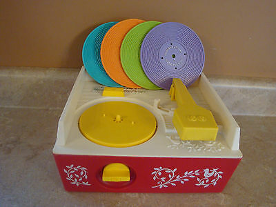 Vintage Fisher Price Music Box Ecord Player #995 Red White 4 Records 1971 Works