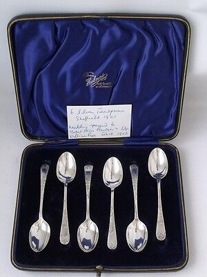 Pretty Boxed Set of 6 Hand-Engraved Solid Sterling Silver Coffee Spoons 1901