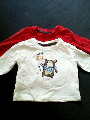 Baby boys long sleeved tops 3-6 months X2