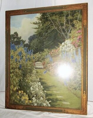 Beautiful Antique Art Deco Wood Frame Gold/green W/garden Print