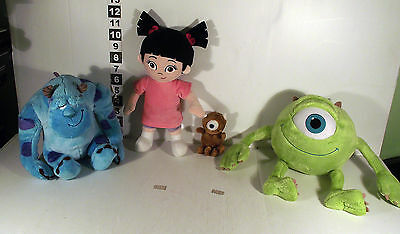 4 x MONSTERS INC MOVIE SOFT TOY - BOO GIRL MIKEY ALIEN TEDDY MIKE WAZ & SULLEY