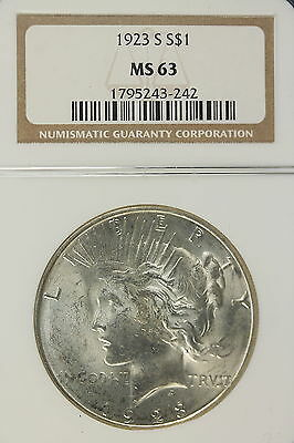 1923-S NGC MS63 PEACE Silver Dollar!!! #B3742