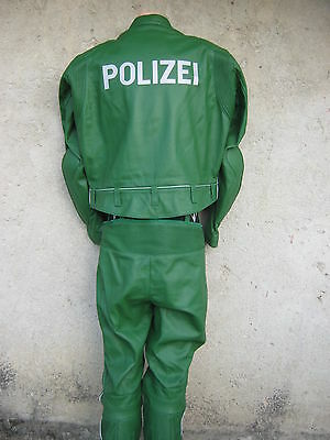 Original German Polizei Leather Uniform For Motorcyclists-New-1998 Year