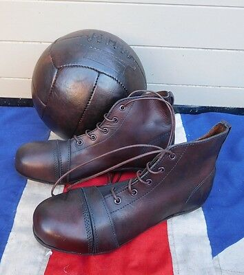 Antique Vintage Leather Football Boots And Leather Football