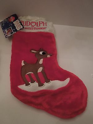 NWT 2003 Gemmy Rudolph the Red Nosed Reindeer Embroidered Lighted Plush Stocking