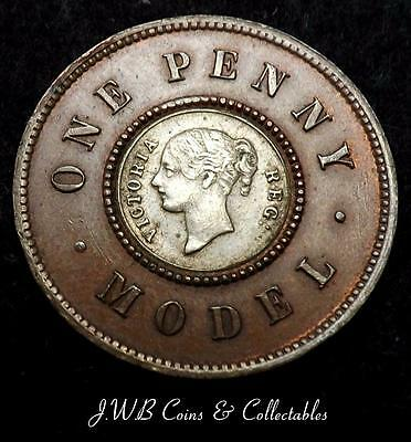 19thC Queen Victoria Model 1d One Penny Coin