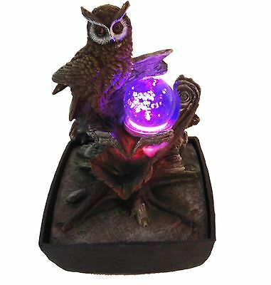 Owl Spinning Ball Fountain With LED Lights | Table Top Fountain