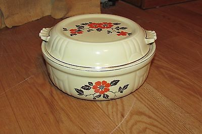 Vintage Hall's Kitchenware Covered Casserole Dish Red Poppy #1074