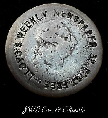 Old George III Ireland Penny With Lloyd's Weekly Newspaper Advertising Stamp