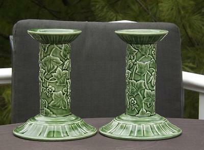 MWT Pair Lenox Summer Terrace Green Majolica Candlestick Portugal Candle Holder