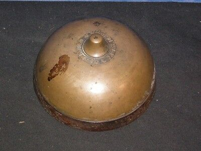"Antique 1891 brass DOORBELL Door Bell with inside parts 4"" diameter"