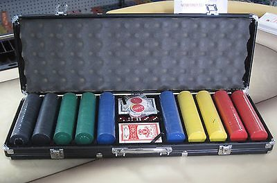 500 Chips Poker Diamond Chip Set W/ Dice Decks Dealer Kit & Black Case Keys*