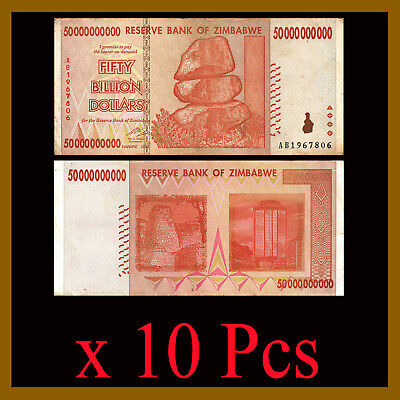 10 Pcs Bundle x Zimbabwe 50 Billion Dollars, 2008 AA/AB Cir, 100 Trillion Series