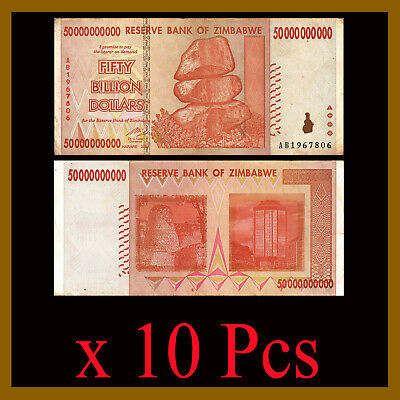Zimbabwe 50 Billion Dollars x 10 Pcs Bundle, 2008 AA/AB Cir, 100 Trillion Series