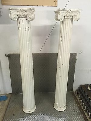 Pair Antique Ionic Wood Columns Architectural Salvage Colonnade Vtg Old Plaster