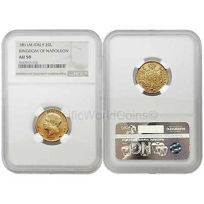 Italy 1811M Kingdom of Napoleon 20 Lire Gold NGC AU50