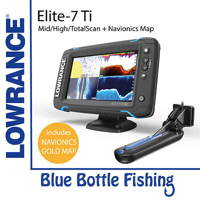 Lowrance Elite-7 Ti Mid/High/TotalScan with AUS Gold Nav Card 50XG