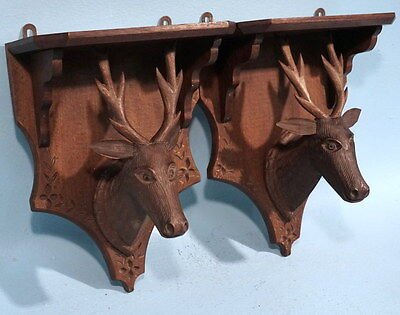2 Antique Art Deco Black Forest Wood Carving Stag Hunt Corbel Shelves Plaques