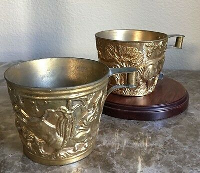 Greek Vapheio Cups-Lot of 2 different Reliefs of Bull-Chasing
